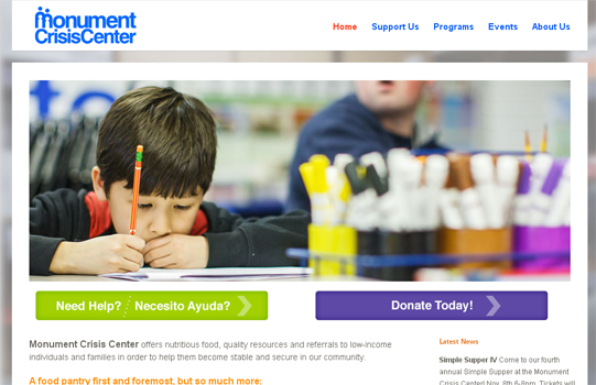 Non-profit site by Taproot team with CitySites.com Monument Crisis Center