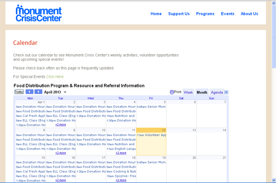 Website calendar integration by CitySites.com