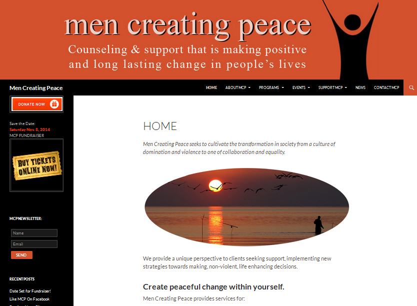 Non-Profit Design & Programming Men Creating Peace